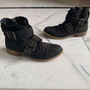 Steve Madden Suede Black Buckle Booties